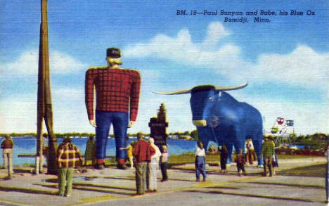 Paul Bunyan and Babe the Blue Ox, Bemidji Minnesota, 1948