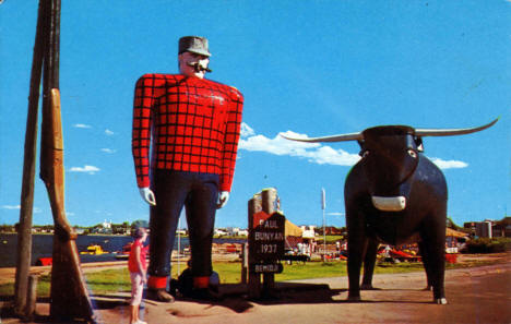 Paul Bunyan and Babe, his Blue Ox, on Lake Bemidji, Bemidji Minnesota, 1969