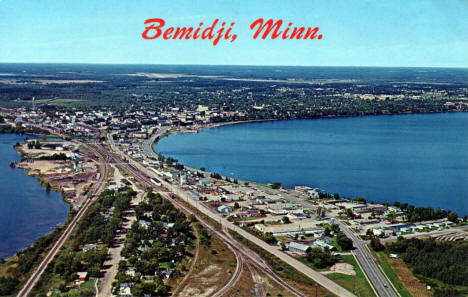Aerial View of Bemidji Minnesota, 1960's