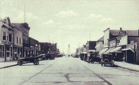 Third Street looking west, Bemidji Minnesota, 1920's