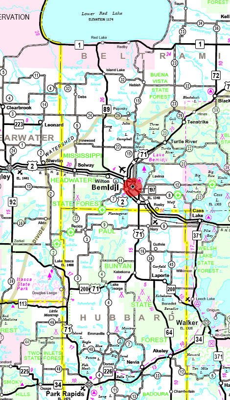 Minnesota State Highway Map of the Bemidji Minnesota area