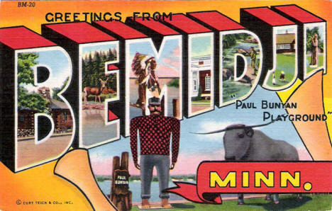 Greetings from Bemidji Minnesota Postcard, 1944