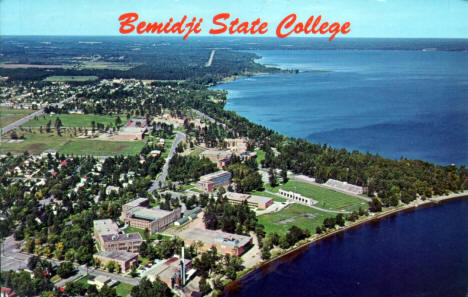 Aerial view, Bemidji State College, Bemidji Minnesota, early 1960's
