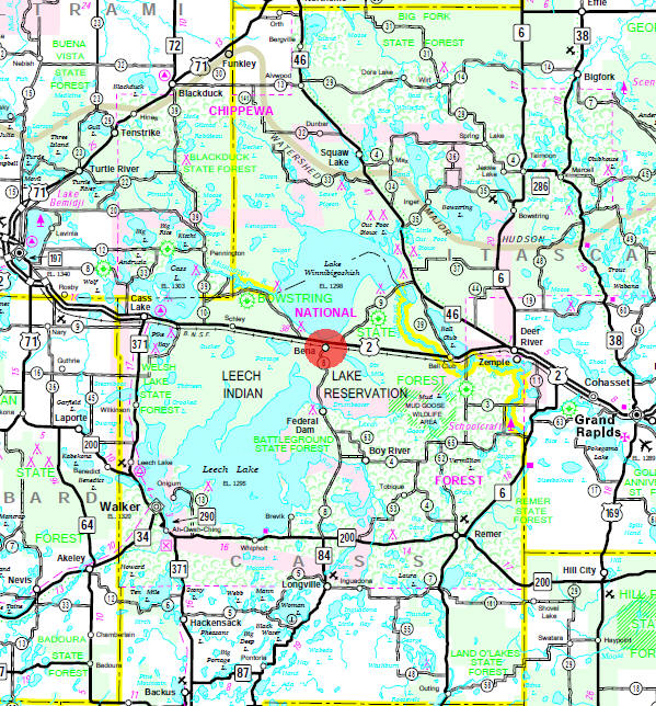 Minnesota State Highway Map of the Bena Minnesota area
