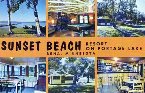 Multiple scenes, Sunset Beach Resort on Portage Lake, Bena Minnesota, 1971