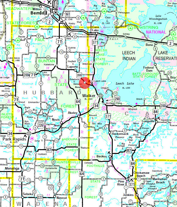 Minnesota State Highway Map of the Benedict Minnesota area