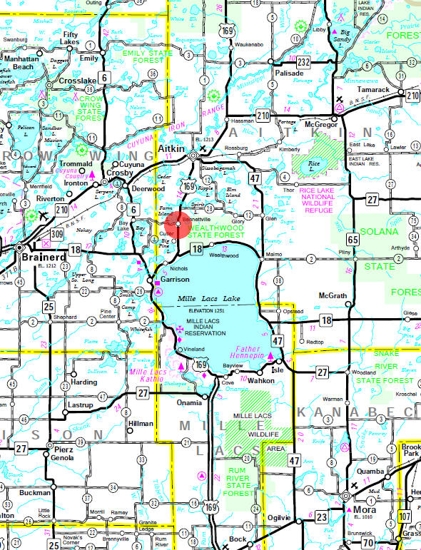 Minnesota State Highway Map of the Bennettville Minnesota area