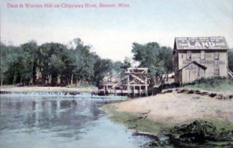 Dam and Woolen Mill on Chippewa River, 1909