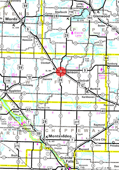 Minnesota State Highway Map of the Benson Minnesota area