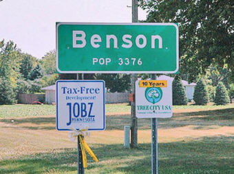 Benson Minnesota population sign