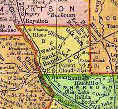 1895 Map of Benton County Minnesota