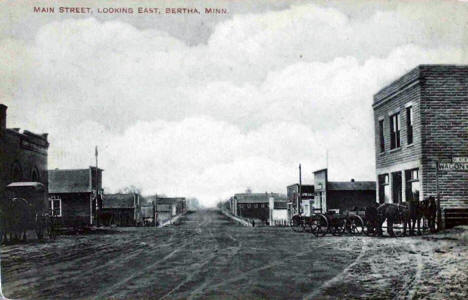 Main Street looking east, Bertha Minnesota, 1910's