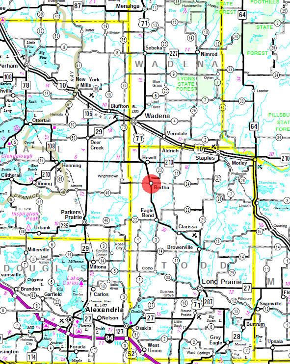 Minnesota State Highway Map of the Bertha Minnesota area