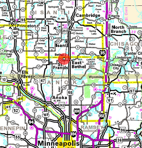 Minnesota State Highway Map of the Bethel Minnesota area