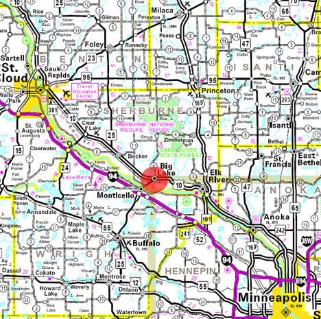 Minnesota State Highway Map of the Big Lake Minnesota area
