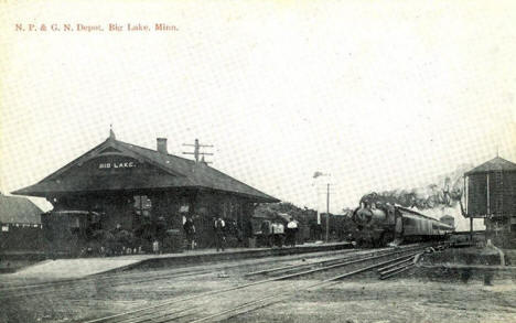 Northern Pacific and Great Northern Railroad Depot, Big Lake Minnesota, 1910's
