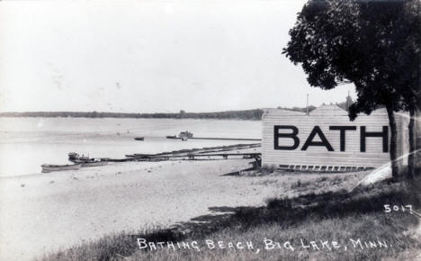 Bathing Beach, Big Lake Minnesota, 1940's?