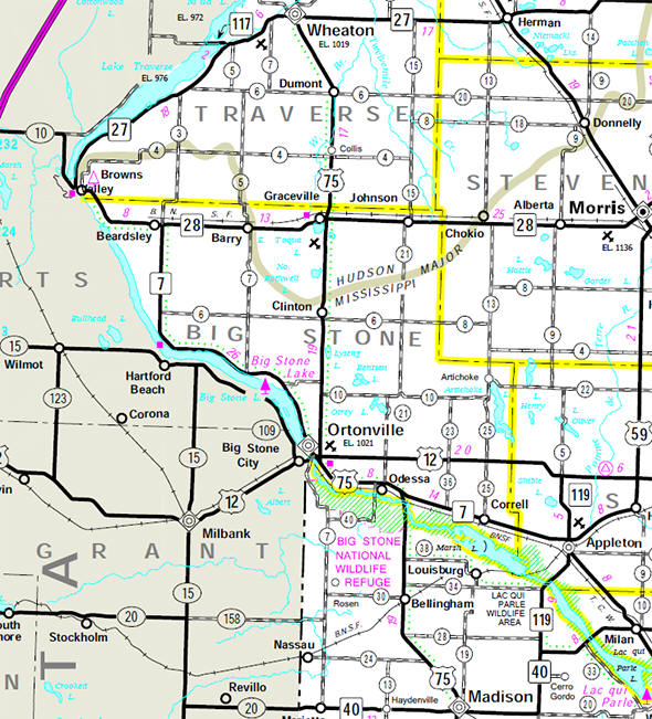 Minnesota State Highway Map of the Big Stone County Minnesota area