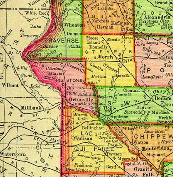1895 Map of Big Stone County Minnesota