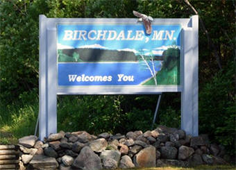 Birchdale Minnesota welcome sign