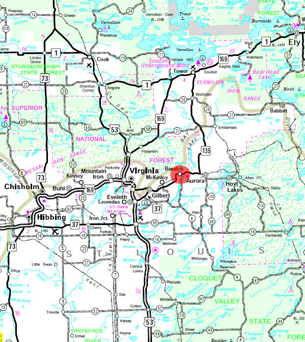 Minnesota State Highway Map of the Biwabik Minnesota area