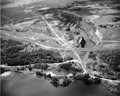 Aerial view, Iron mine, Biwabik Minnesota, 1950