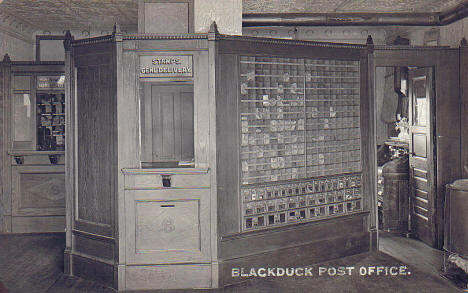 Interior of the Blackduck Minnesota Post Office, 1911