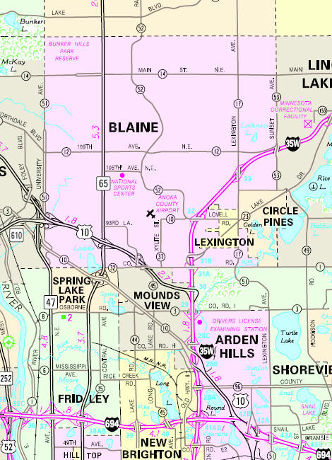 Minnesota State Highway Map of the Blaine Minnesota area