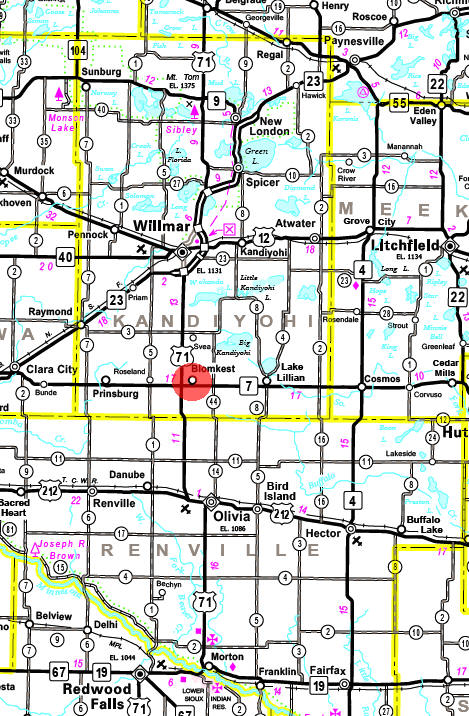 Minnesota State Highway Map of the Blomkest Minnesota area