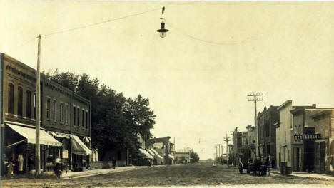 Main Street looking east, Blooming Prairie Minnesota, 1910