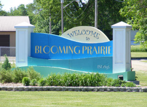 Welcome sign, Blooming Prairie Minnesota, 2010