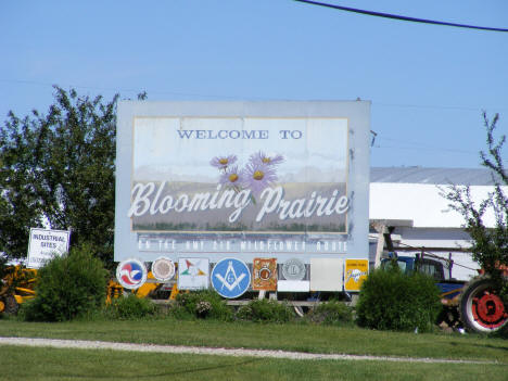 Welcome sign on south end of town, Blooming Prairie Minnesota, 2010