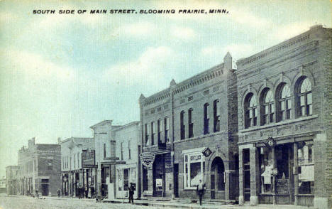 South side of Main Street, Blooming Prairie Minnesota, 1911