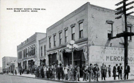 Main Street north from 6th Street, Blue Earth Minnesota, 1920's