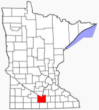 Location of Blue Earth County Minnesota