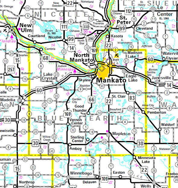 Minnesota State Highway Map of the Blue Earth County Minnesota area