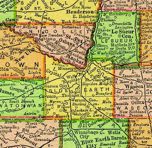 1895 Map of Blue Earth County Minnesota