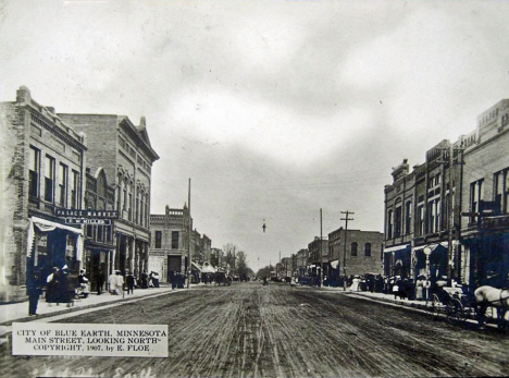 Main Street looking north, Blue Earth Minnesota, 1907