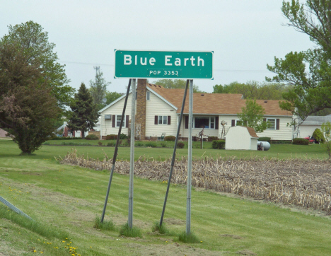 Population sign, Blue Earth Minnesota, 2014