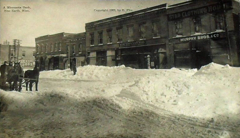 Street scene in winter, Blue Earth Minnesota, 1909