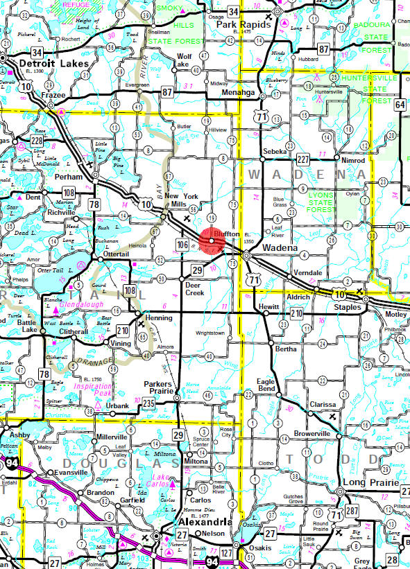 Minnesota State Highway Map of the Bluffton Minnesota area