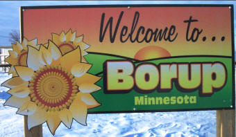 Borup Minnesota welcome sign