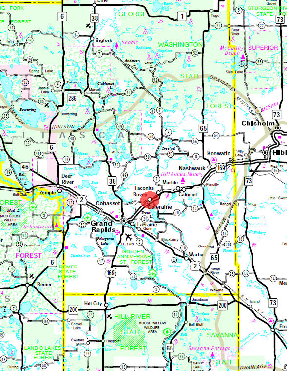 Minnesota State Highway Map of the Bovey Minnesota area