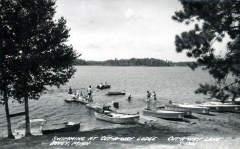 Swimming at Cut-a-way Lodge, Bovey Minnesota, 1961