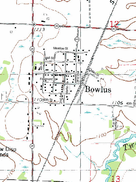 Topographic Map of Bowlus Minnesota