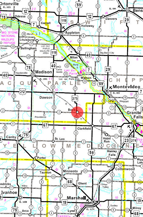 Minnesota State Highway Map of the Boyd Minnesota area