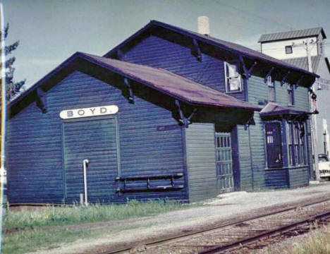 Minneapolis and St. Louis Railroad Depot, Boyd Minnesota, 1950's