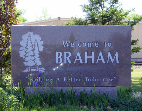 Welcome to Braham Minnesota sign