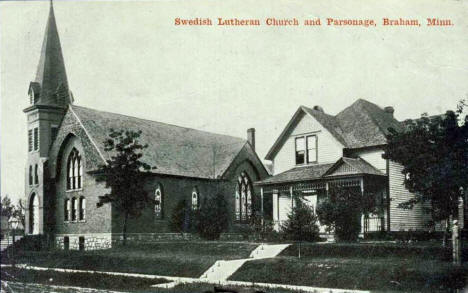 Swedish Lutheran Church and Parsonage, Braham Minnesota, 1910's