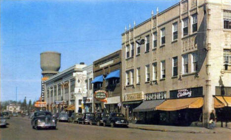 6th Street from Laurel Street, Brainerd Minnesota, 1940's